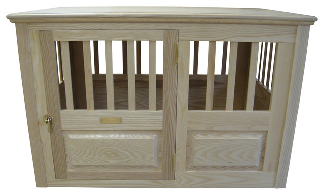 Wooden Dog Crate Small Side Open Left, Natural traditional-dog-kennels-and