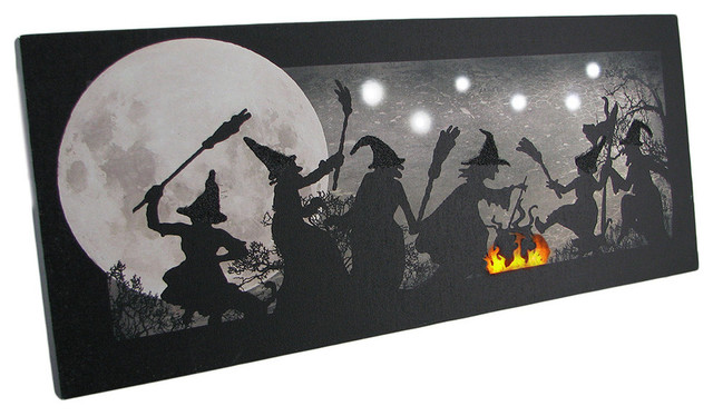Lighted Wall Decor the witches dance led lighted sparkling halloween canvas print