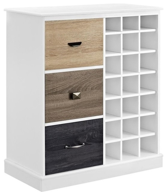 Altra Furniture Mercer Wine Cabinet, White - Transitional - Wine And Bar Cabinets - by Homesquare