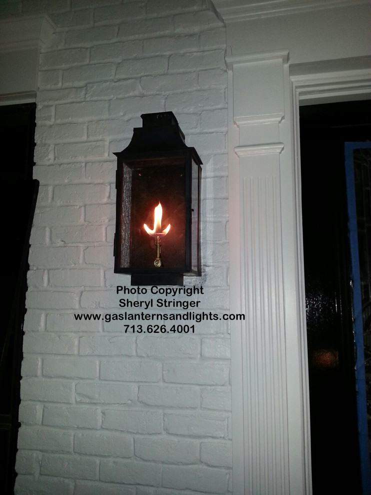 Sheryl's Flush Mount Gas Lantern with Dark Patina Finish and Antique Glass