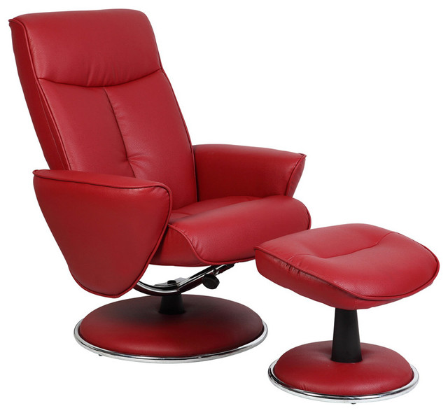 Mac Motion Red Bonded Leather Swivel Recliner With Ottoman Red contemporary-recliner-chairs  sc 1 st  Houzz & Mac Motion Red Bonded Leather Swivel Recliner with Ottoman ... islam-shia.org