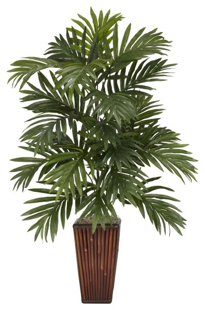 Areca Palm With Bamboo Vase Silk Plant Green Asian Artificial