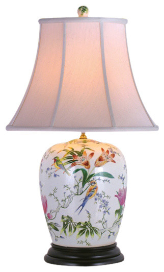 Tropical Flowers Porcelain Table Lamp.