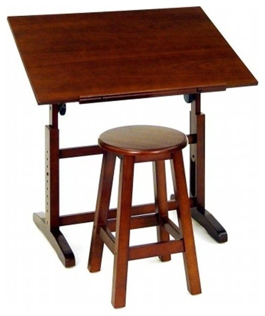 2-Piece Creative Table And Stool Set, Walnut.