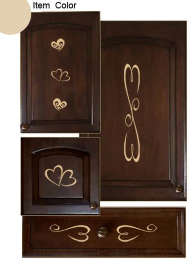 Kitchen Cabinet Decals Hearts Theme