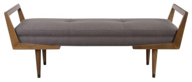 Waylon Mid-Century Modern Taupe Upholstered Bench. -1