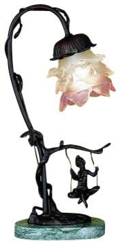 Meyda Tiffany 17855 Cherub 1 Light Down Lighting Table Lamp.