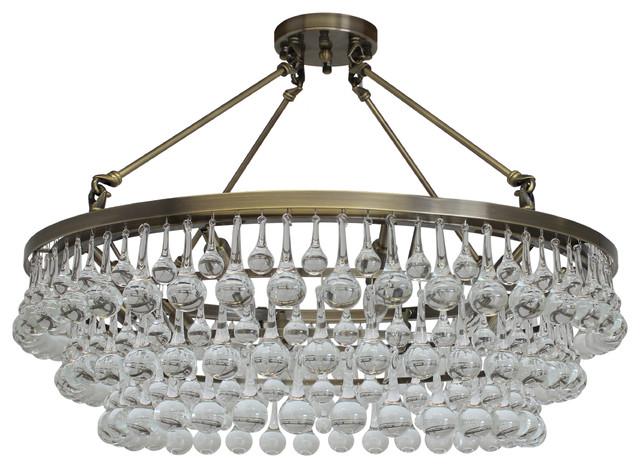Celeste 32 Flush Mount Glass Drop Crystal Chandelier Antique