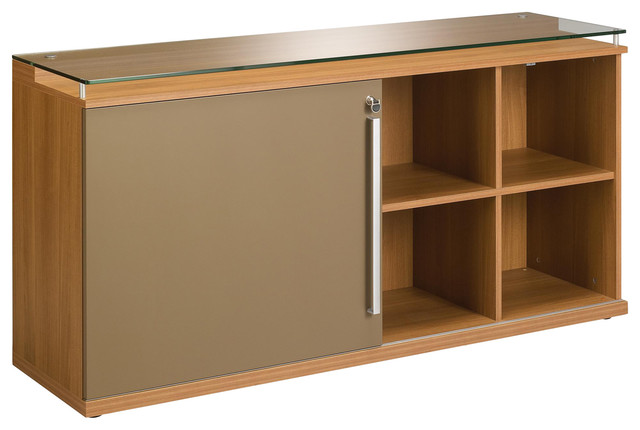 Sliver Storage Cabinet With Glass Top and Sliding Door, Walnut Finish
