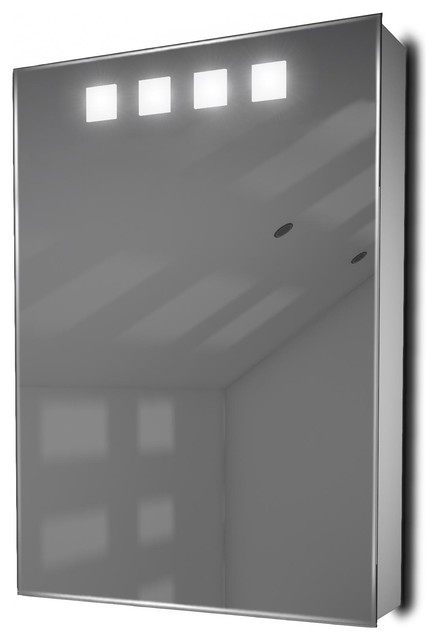 Mirrored Medicine Cabinet With Demister And Led Top Squares, With Speakers.