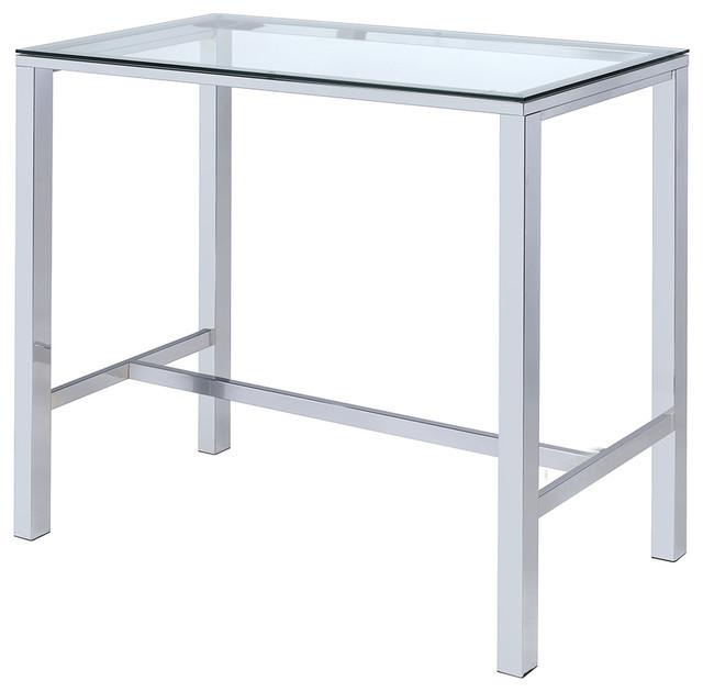 Rectangular Bar Table, Clear Glass Top, Steel Legs