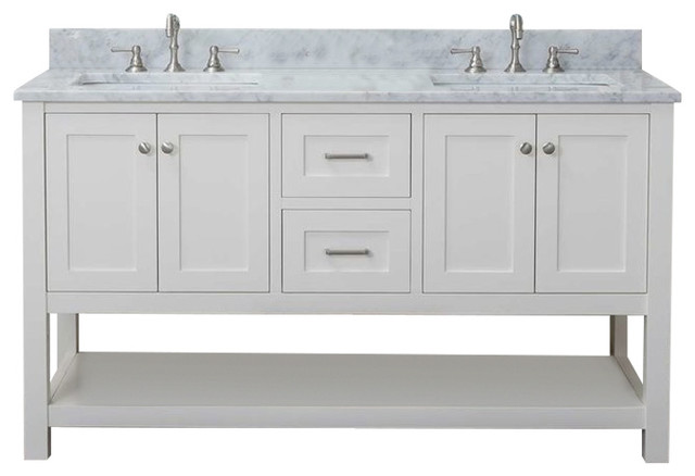 """Cabinet Mania White Shaker 48"""" Bathroom Vanity 2 Sink Open Shelf With Marble Top."""