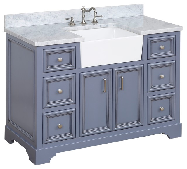 "Zelda Bathroom Vanity, Powder Gray, 48"", Top: Carrara Marble, Single Sink."