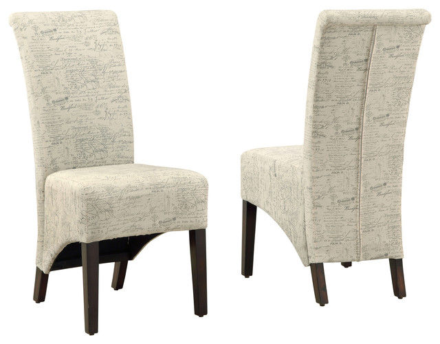 Superb Monarch Specialties Vintage Style Dining Chairs, French Fabric, Set Of 2
