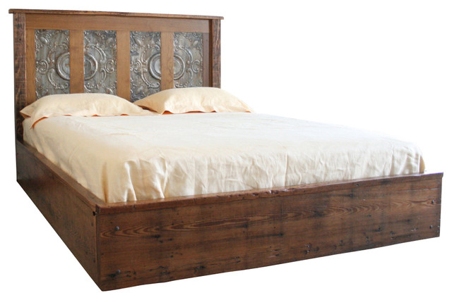 reclaimed wood and victorian ceiling queen platform bed traditional platform beds