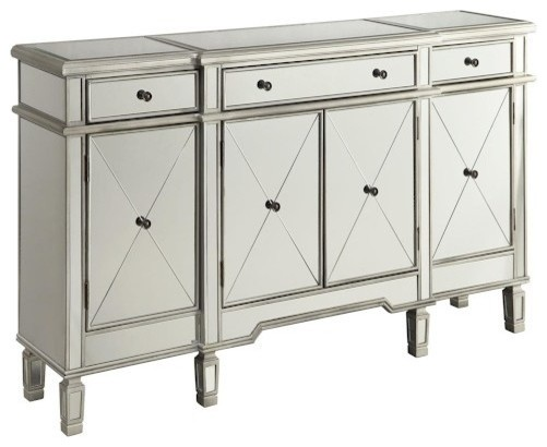 Coaster Mirror Sideboard With Wine Rack, Silver.