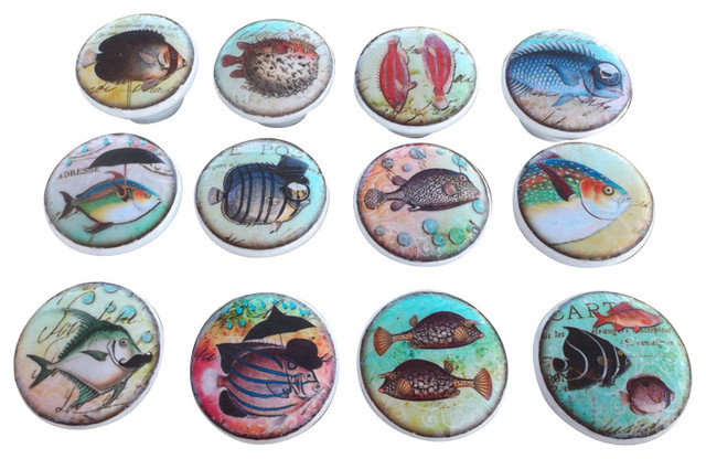 Whimsical Fish Cabinet Knobs, 12 Piece Set
