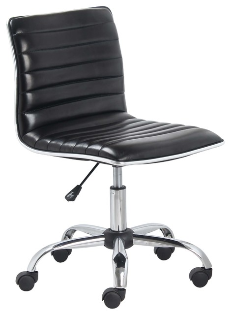 Mid Back Armless Ribbed Task Leather Chair Black Upholstery Chrome