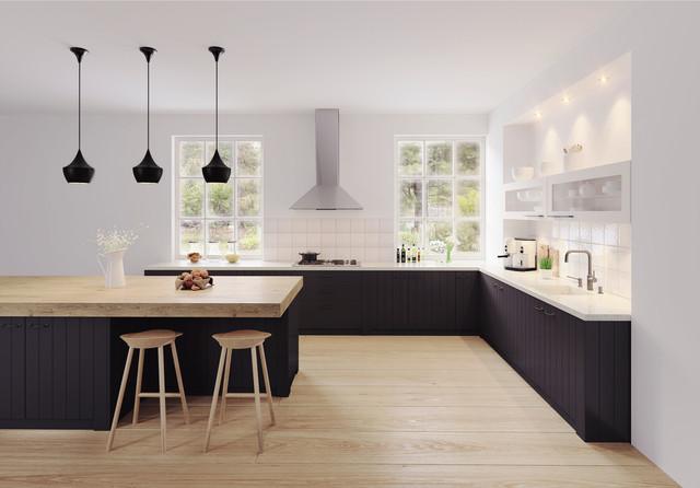 schwarze skandinavische k che. Black Bedroom Furniture Sets. Home Design Ideas