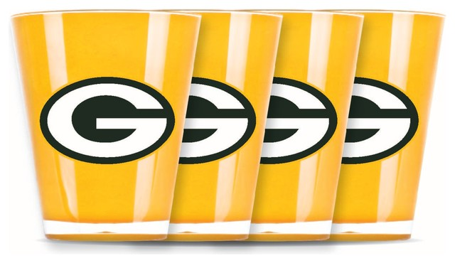 Green Bay Packers Glasses, Set of 4 - Contemporary - Shot ...