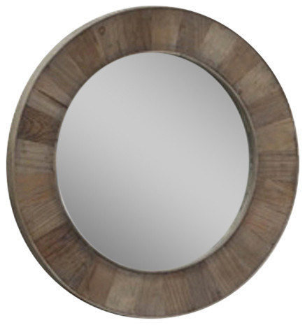 "Round 27.5"" Solid Recycled Fir Mirror."