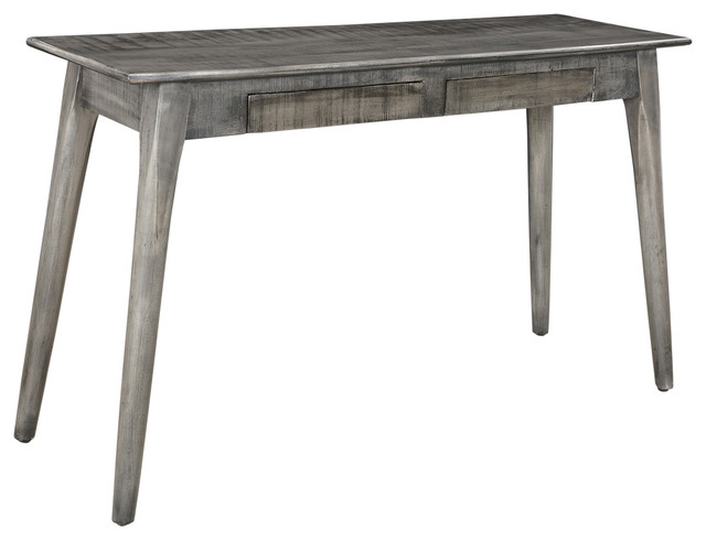 2 drawer solid mango wood console table distressed gray tables