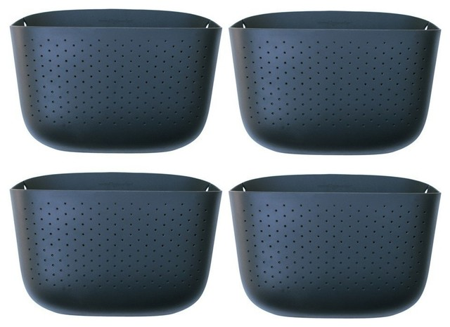 Superior Woolly Pocket Living Wall Planter, 4 Pack, Gray Contemporary Outdoor Pots