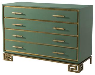 Art Deco Laurel Green and Greek Key Commode