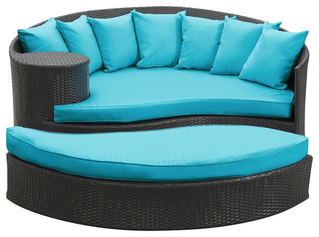 Taiji Outdoor Wicker Patio Daybed with Ottoman  contemporary-outdoor-lounge-sets - Taiji Outdoor Wicker Patio Daybed With Ottoman - Contemporary