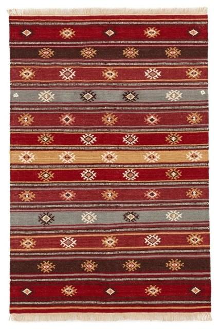 Red Tribal Wool Kilim Rug, Large