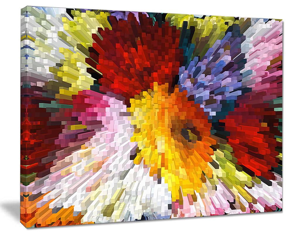 Extrusive 3d Fabric Flowers Floral Art Canvas Print