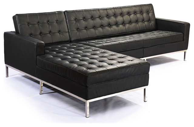 Kardiel - Midcentury Florence Genuine Standard Leather Sectional Black Left - Sectional Sofas  sc 1 st  Houzz : leather tufted sectional - Sectionals, Sofas & Couches