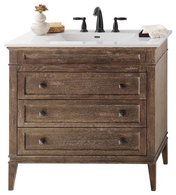 """Solid Wood Bathroom Vanities Cabinets ronbow laurel solid wood 36"""" vanity cabinet base, vintage honey"""