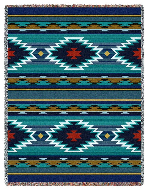 Southwest Geometric Turquoise Tapestry Throw. -1