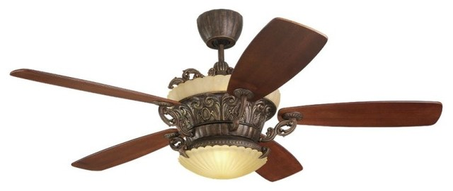 "Monte Carlo Strasburg Five Blade 56"" Indoor Ceiling Fan With Included Light Kit."