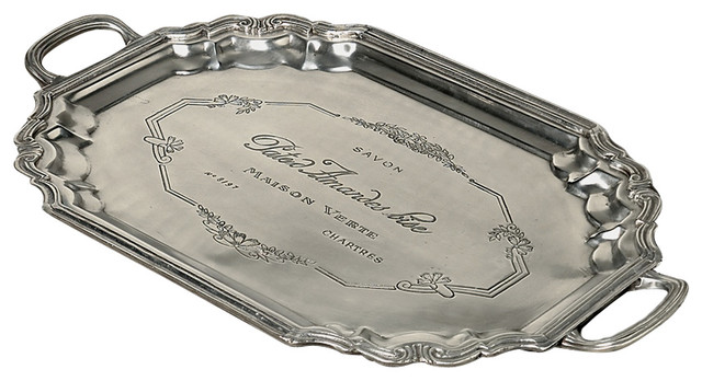 Etched French Tray With Handles Antique Silver