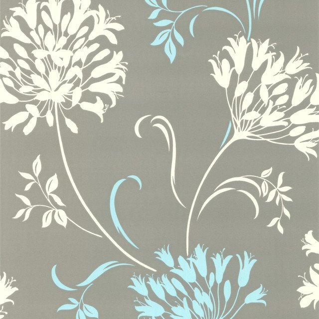 Nerida Light Gray Floral Silhouette Wallpaper - Contemporary - Wallpaper - by Brewster Home Fashions