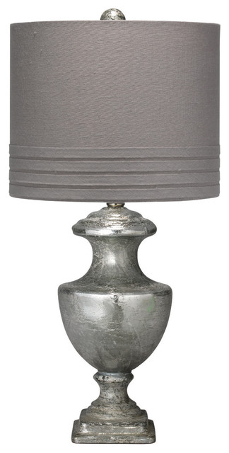 Mini Lee Urn Table Lamp, Textured Mercury Glass With Small Banded ...