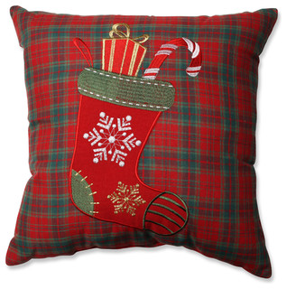 Christmas Stocking Plaid Throw Pillow - Traditional - Decorative Pillows - by Pillow Perfect Inc