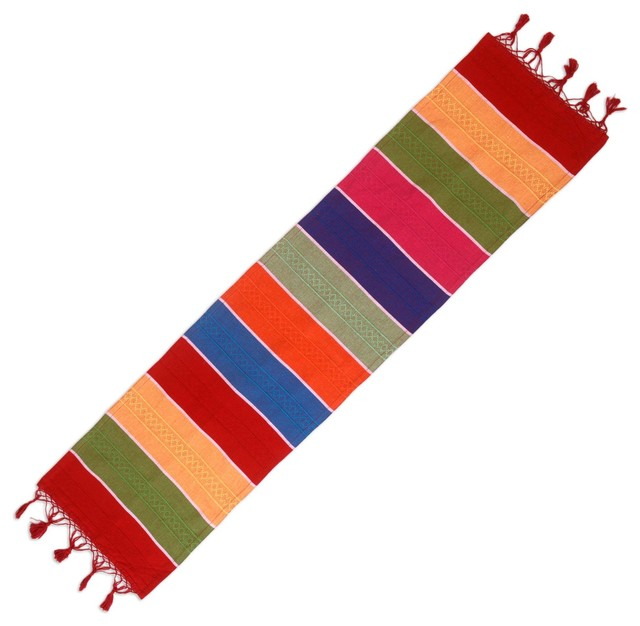 Novica Colors Of Mexico Cotton And Silk Blend Table Runner
