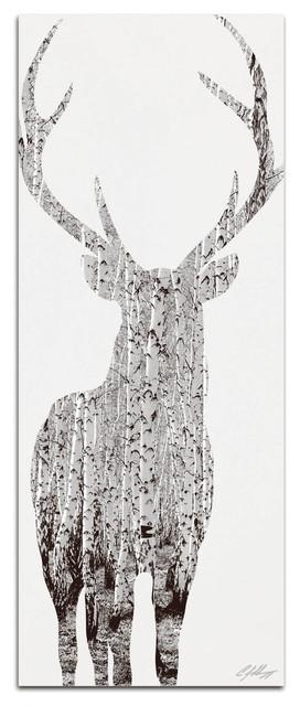 Birch Deer Contemporary Metal Art.