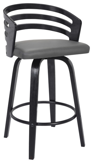 Jayden 26 Counterstool Black Brush Wood Finish Gray Faux Leather