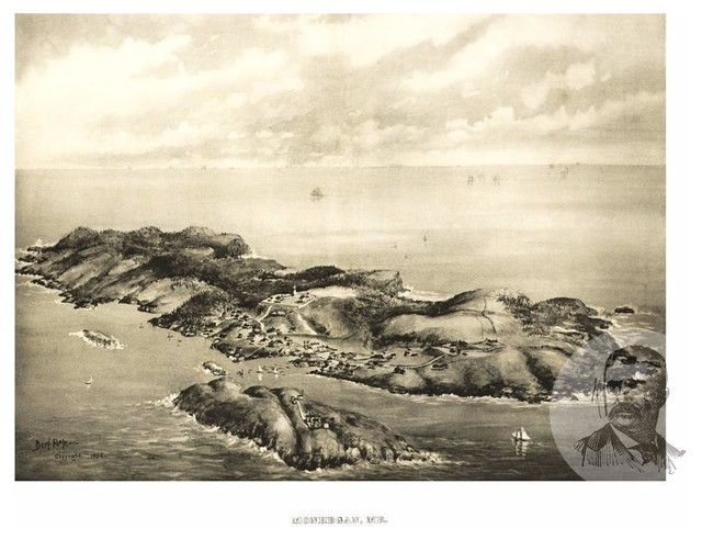 Historic Monhegan, ME Map 1896, Vintage Maine Art Print, 12