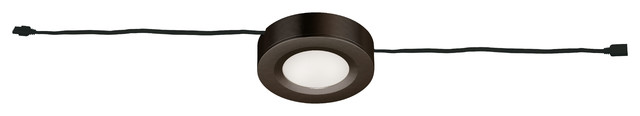 Dual-Mount Instalux LED Under-Cabinet Puck Light, Bronze