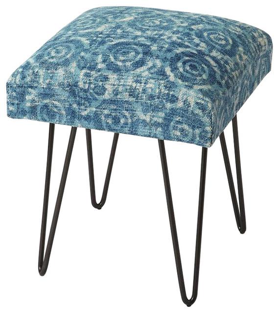 Faded Denim Cotton Upholstered Stool Midcentury Vanity