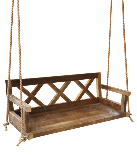 Farmhouse Porch Swing Made From Reclaimed Wood.