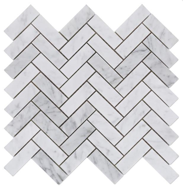 """Carrara White Marble Polished Herringbone Mosaic Tile, 12""""x12"""" Sheet"""
