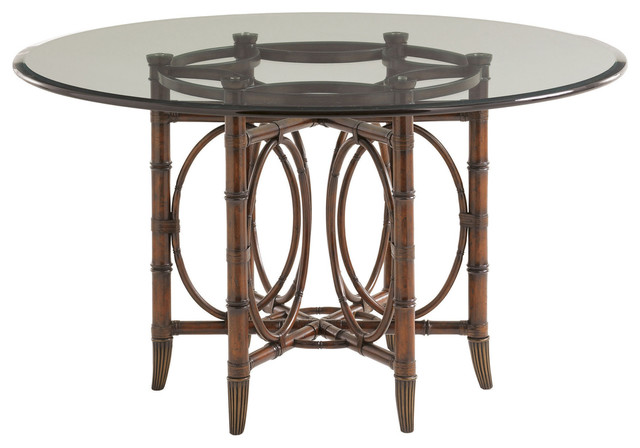 Lexington landara coral sea rattan dining table for Traditional dining table bases