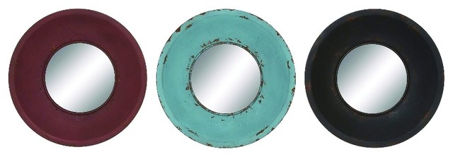 Nautical Wall Mirror nautical set of 3 round wall mirrors of various colors home