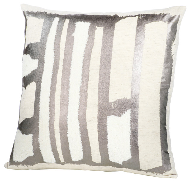 """Set of 4 Chenille 3 tone Black Grey White Cushion and covers filled 17/""""x 17/"""""""